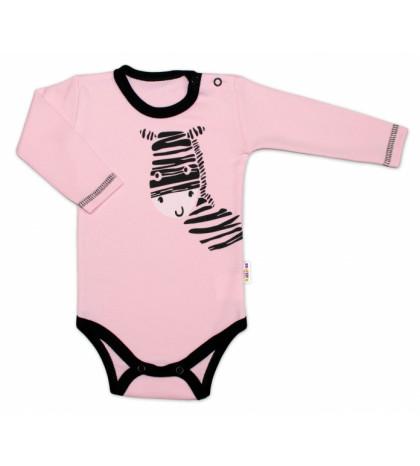 Baby Nellys ® Body dlhý rukáv, ružové, Zebra, veľ. 86