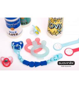 SUAVINEX ARTY BABY - 1x Plastový podbradník s vreckom/ SV. MODRÁ