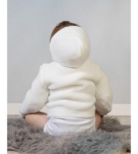 Baby Nellys Dvojvrstvová dojčenská bundička, svetrík - biely, veľ. 68