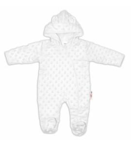 Baby Nellys ® Kombinézka /overal Minky s kapucňou a uškami - biela, veľ. 62