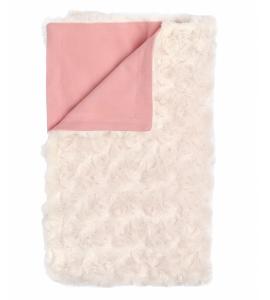 Mamatti Detská bavlnená deka s minky, Mašle - 75 x 90 cm, pudrová-ecru