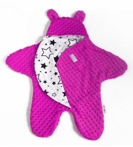 Baby Nellys Fusak, kombinézka do autosedačky alebo kočíka uškami Minky - syto růžová
