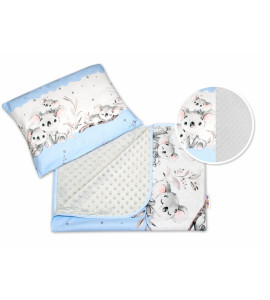 Baby Nellys® 2-dielna súprava do kočíka s minky, Medvedík Koala - modrá