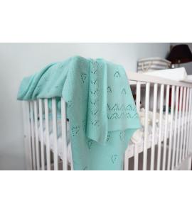 Baby Nellys® Detská akrylová deka, dečka, 90 x 90 cm - jemný vzor - zelená
