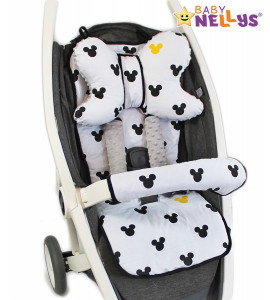 Baby Nellys Komplet do kočíka - podložka, vankúš, poťah na popruhy a barierky č. 10  D19