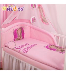 Baby Nellys® Mantinel s obliečkami Sweet Dreams by Teddy - růžový