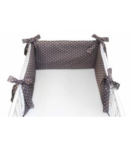 Baby Nellys® Mantinel do postieľky 180x30 cm s Minky, hviezdičky biele