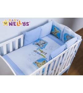 Baby Nellys® Obliečky s vankúšikovým mantinelom Sweet Dreams by TEDDY - modrý