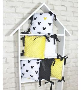 Baby Nellys® Vankúšikový mantinel Minky s obliečkami - Mickey, žlutá, B19