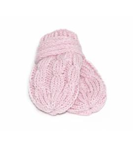 Baby Nellys ®Zimné pletené dojčenské rukavičky so vzorom - sv. ružové