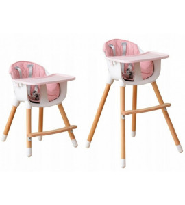 Eco Toys Drevená jedálenská stolička 2v1 - ružová