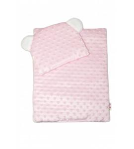 Baby Nellys ® Sada pre bábiku - zavinovačka, perinka a vankúšik Minky - ružová
