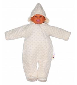 Baby Nellys ® Kombinézka / overal Minky, zateplená - smotanová, veľ. 74