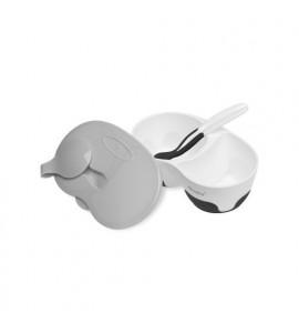 AKUKU Detská dvojkomorová miska s lyžičkou bielo-čierna