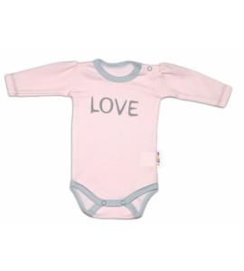 Baby Nellys® Body dlhý rukáv Love - ružové, veľ. 68