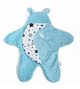 Baby Nellys® Fusak,spacáček, kombinézka do autosedačky alebo kočíka uškami Minky-sv. modrý
