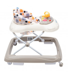 BABY MIX Detské chodítko Baby Mix s volantom a siikónovými kolieskami béžové