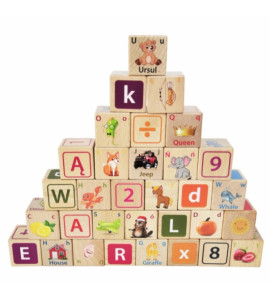 ECO TOYS Drevené kocky 32 ks - číslice, písmenká, obrázky