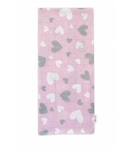 Baby Nellys Kvalitná bavlnená plienka - Tetra Premium, 70x80cm - Srdiečka v ružovej