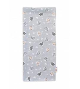 Baby Nellys Kvalitná bavlnená plienka - Tetra Premium, 70x80cm - Medvedík, sivá