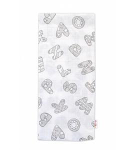 Baby Nellys Kvalitná bavlnená plienka - Tetra Premium, 70x80cm - Písmenka, biela