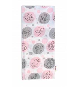 Baby Nellys Kvalitná bavlnená plienka - Tetra Premium, 70x80cm -Sweet Love, ružová