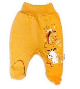 Baby Nellys Bavlnené dojčenské polodupačky, Dogs-horčicová, veľ. 62