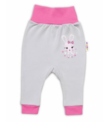 Baby Nellys Dojčenské tepláčky Lovely Bunny - sivé / ružové, veľ. 80