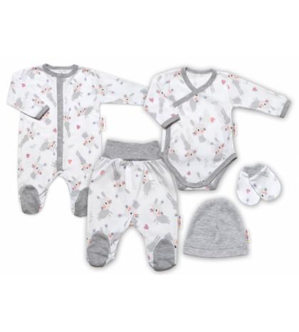 Baby Nellys 5-dielna sada do pôrodnice Cute Bunny, biela / sivá
