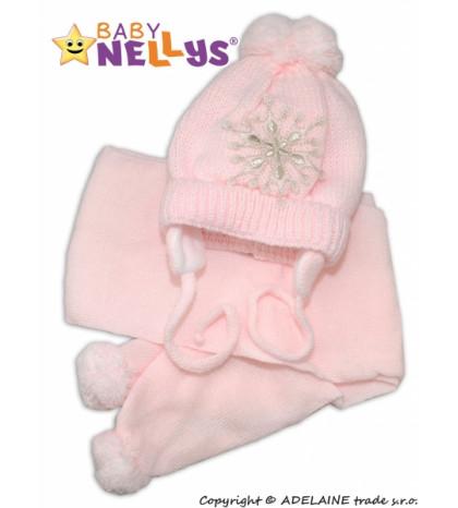 BABY NELLYS Zimná čiapočka s šálom - Snehová vločka v ružovej, 0/6m