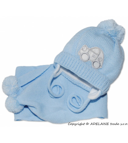 BABY NELLYS Zimná čiapočka s šálom - Autíčko sv. modré
